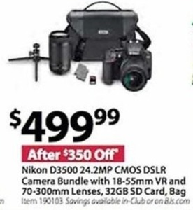 Nikon D3500 24.2MP CMOS DSLR Camera Bundle