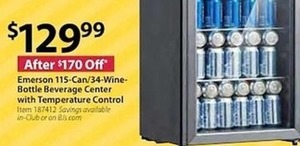 Emerson 115-Can/34-Wine Bottle Beverage Center