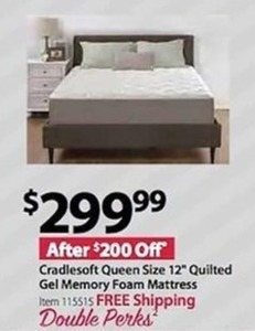 Cradlesoft Queen Size 12 Quilted Gel Memory Foam Mattress - Free Shipping