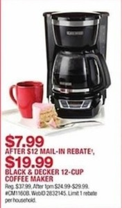 Black and Decker 12-Cup Coffee Maker After Rebate