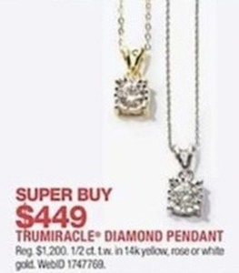 Trumiracle Diamond Pendant 1/2 ct. tw in 14k Gold