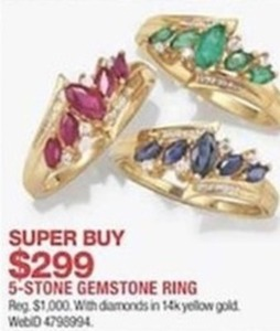 5-Stone Gemstone Ring