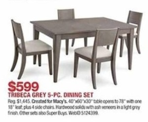 Tribeca Grey 5 Pc. Dining Set
