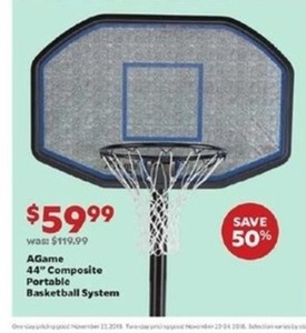 "AGame 44"" Composite Portable Basketball System"