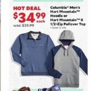 Columbia Men's Hart Mountain hoodie or Hart Mountain II 1/2 Zip Pullover Top