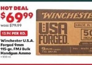 Winchester U.S.A Forged 9mm 115 Gr.Fmj Bulk Handgun Ammo