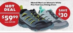 Merrell Men's Or Women's White Pine Vent Low Hiking Shoes