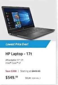HP 17t Laptop w/ Intel Core i7 CPU