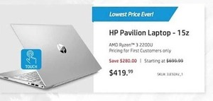 HP Pavilion 15z Laptop w/ AMD Ryzen 3 2200U