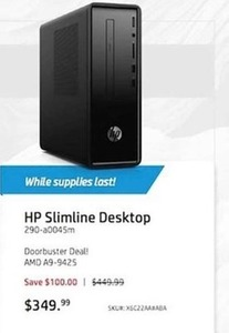 HP Slimline Desktop PC w/ AMD A909425