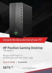 HP Pavilion Gaming Desktop 8th gen Intel Core i5