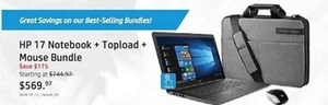 HP 17 Notebook + Topload + Mouse Bundle