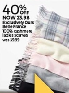 Belle France 100% Cashmere Ladies' Scarves