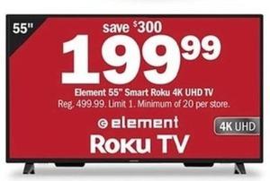 "Element 55"" Smart Roku 4K UHD TV"
