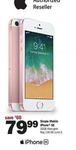 Simple Mobile 32GB Rose Gold iPhone SE