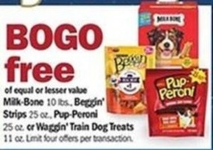 Milk Bone, Beggin' Strips, Pup-Peroni or Waggin' Train Dog Treats