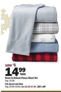 Room & Retreat Fleece Sheet Set