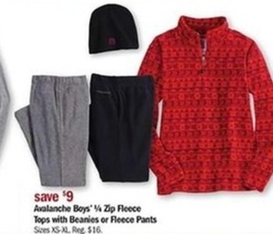 Avalanche Boys 1/4 Zip Fleece Tops with Beanies or Fleece Pants