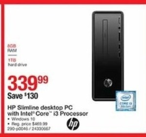HP Slimline Desktop PC w/Intel Core i3 Processor