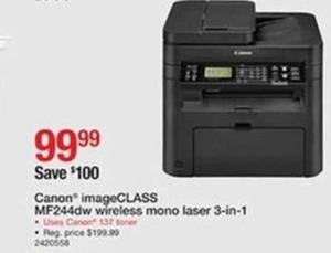Canon Image Class MF244dw Wireless Mono Laser 3-In-1 Printer