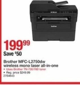 Brother MFC-L2750DW Wireless Mono Laser All-In-One Printer