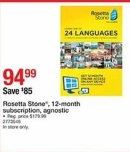 Rosetta Stone 12 Month Subscription Agnostic