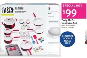 Tasty 30-Piece Heavyweight Non-Stick Ceramic Cookware Set + Google Home Mini