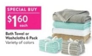 Bath Towel or 6 Pack Washcloths