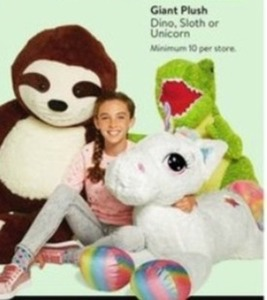 Giant Plush Dino, Sloth or Unicorn