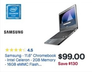 "Samsung 11.6"" Chromebook w/ Intel Celeron CPU"
