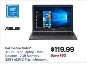 "Asus 11.6"" Laptop w/ Intel Celeron Processor"