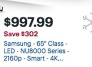 "Samsung NU8000 Series 65"" 4K LED HDTV"