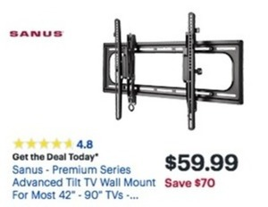 "Sanus Premium Series 42"" - 90"" TV Wall Mount"