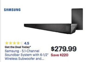 "Samsung 5.1 Ch. Soundbar System w/ 6.5"" Wireless Subwoofer"