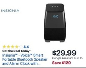 Insignia Voice Smart Portable Bluetooth Speaker and Alarm Clock
