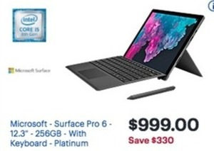 "Core Microsoft Surface Pro 6 12.3"" 256GB With Keyboard"
