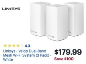 Linksys Velop Dual Band Mesh Wi Fi System 3-Pack