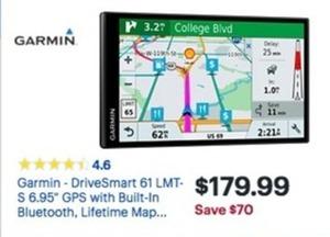 Garmin DriveSmart 61 LMT-S GPS w/ Bluetooth