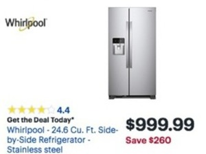 Whirlpool 24.6 Cu. Ft.Side By Side Refrigerator
