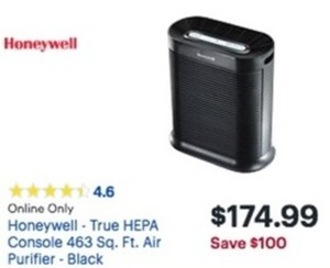 Honeywell True HEPA Console 463 Sq. Ft. Air Purifier