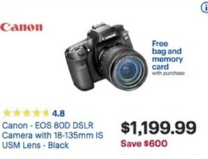 Canon EOS 80D DSLR Camera w/ Free Bag & Memory Card