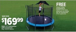 12' Trampoline with Enclosure + Free Jump 'N Jam Basketball Kit