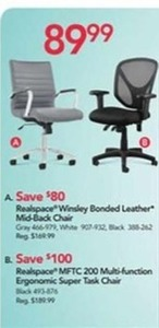 Realspace Winsley Bonded Leather Mid-Back Chair