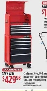 Craftsman 26-Inch 9-Drawer Heavy-Duty Open-Till Tool Chest & Rolling Cabinet