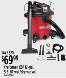 Craftsman XSP 12-Gallon 5.5-HP Wet/Dry Vacuum Set