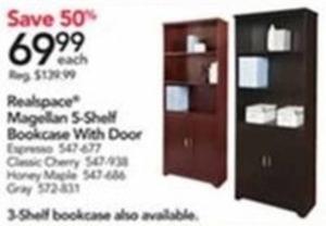 Realspace Magellan 5-Shelf Bookcase With Door