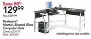 Realspace Mezza L-Shaped Glass Computer Desk