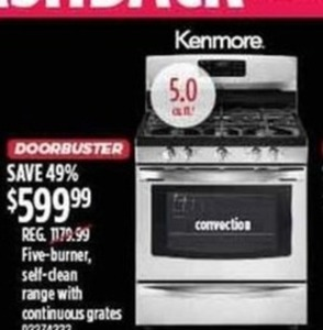 Kenmore Five-Burner Self-Clean Oven