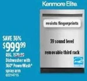 Kenmore Elite Dishwasher With 39 Sound Level