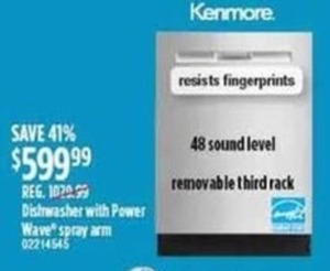 Kenmore Dishwasher With 48 Sound Level 599.99